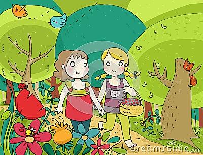 Two little friends walking n the wood