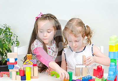 Two little girl playing