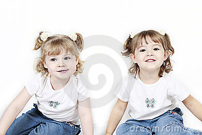 Two Little Girls in Pigtails