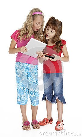 Two Little Girls with Tablet Device