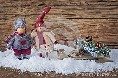 Two little santa decoration