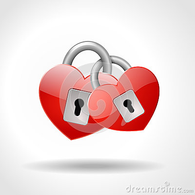 Free Two Locked Padlocks In Shape Of Red Hearts Stock Photography - 26960102