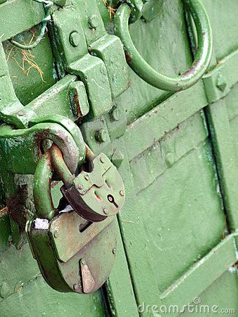 Two locks on a green door