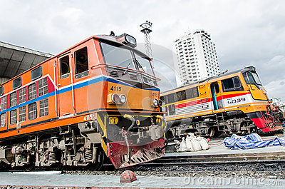 Two locomotives parking. Editorial Stock Photo