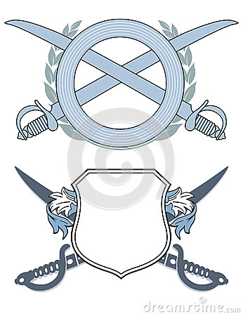 Two logos with swords