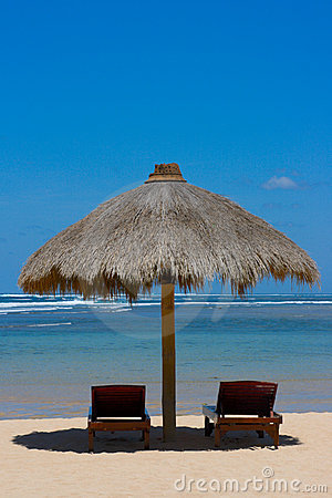 Free Two Lounge Chairs Under Tent On Beach Stock Photo - 4269900