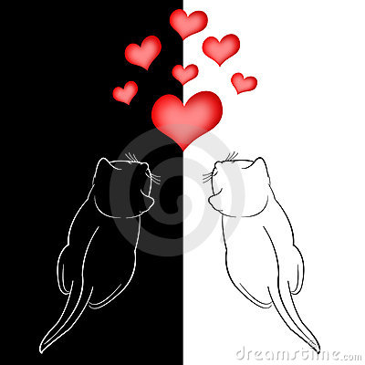Two in love cats and red hearts