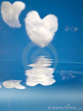 Two love heart cloud in the clear sky