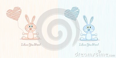 Two love rabbit (postcard), illustration