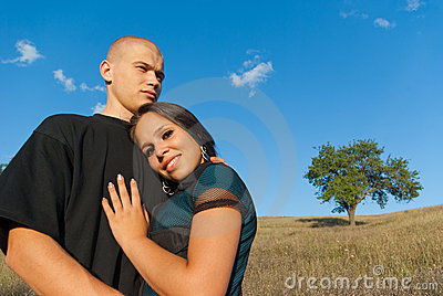 Two lovers on a background field