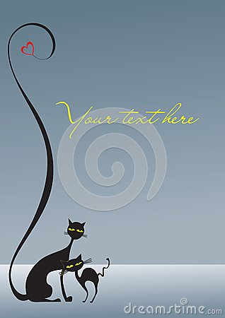 Two loving black cats on the gray background