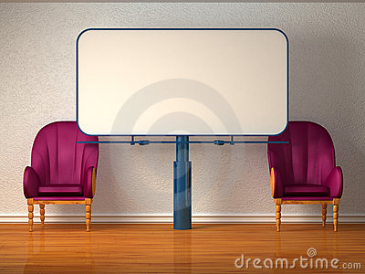 Two luxurious chairs with billboard