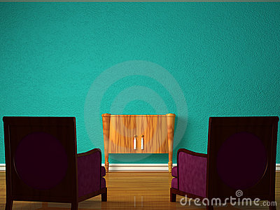 Two luxurious chairs with wooden console
