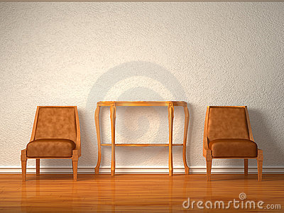 Two luxurious chairs with wooden table