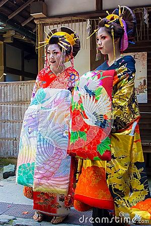 Free Two Maiko, The Apprentice Geisha, Wearing Beautiful Kimono In Japan. Royalty Free Stock Photo - 79324035