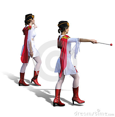 Two Majorettes with white dresses, red boots and scarfs