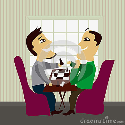 Two male friends playing chess