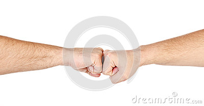 Two male hands as fists together isolated