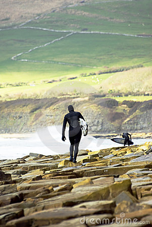 Two male surfers