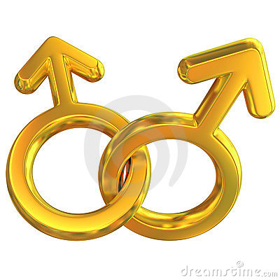 Two male symbols crossed representing gay relation