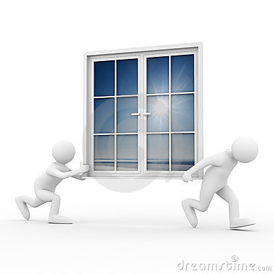 Two man carry window on white background