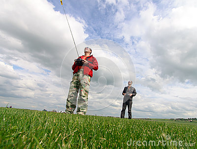 Two Man controls RC gliders