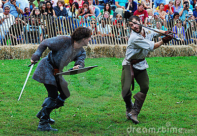 Two Man fight in medieval costume Editorial Stock Photo