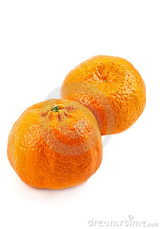 Free Two Mandarine On The White Royalty Free Stock Image - 12442426