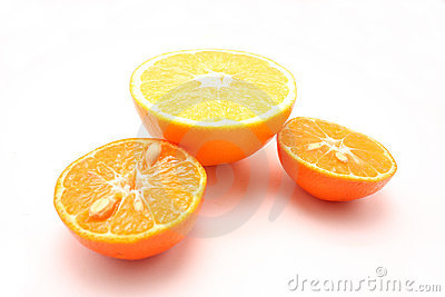 Two mandarins and orange