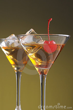 Two Manhattan Cocktails in Martini Glasses