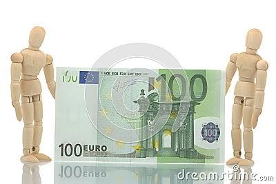 Two manikins holding euro bill