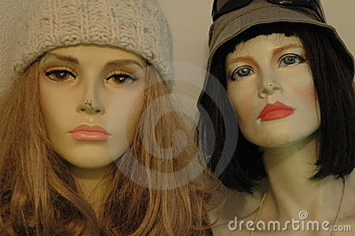Two mannequins faces