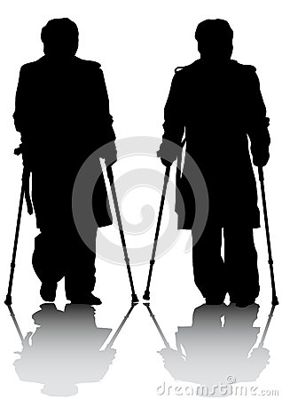 Two mans whit crutches