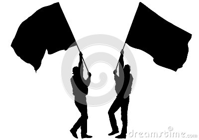 Two mans whit flag