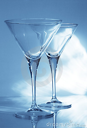 Two martini goblets