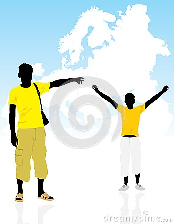 Two masculine silhouettes on a background the map