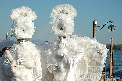 Two masks -white angels at Venice carnival Editorial Stock Photo