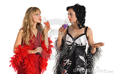Two mature woman drink color poison alcohol
