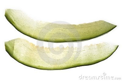 Two melon fruit transparent slices