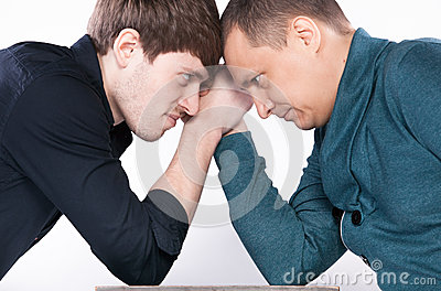 Two men armwrestling