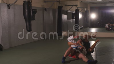 Two men Boxing in the gym stock video footage