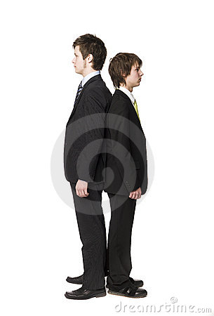 Two men compare length
