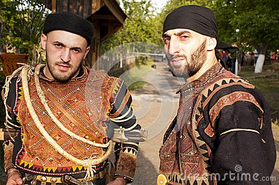 Two men in costumes of region Khevsureti, Georgia Editorial Photo