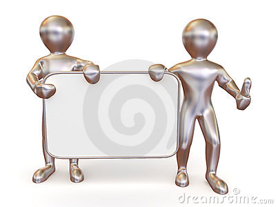 Two men with empty board