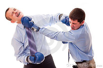 Two men fighting