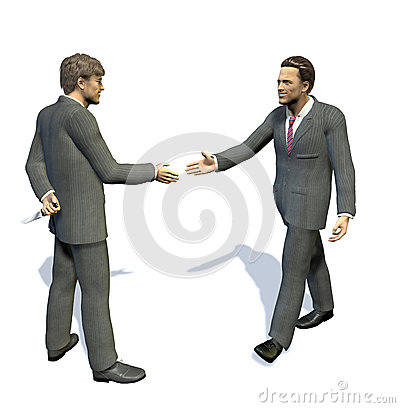 Two men going to shake hands, one has a knife hidden.