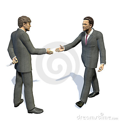 Two men going to shake their hands, one of them is