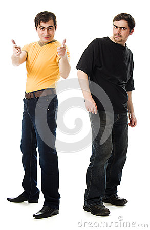 Two men with a happy and  sad