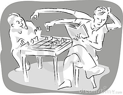 Two men playing chess game