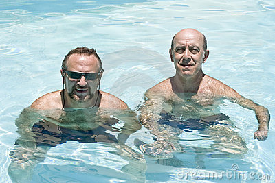 Two men in the pool